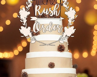 RUSH ORDER - Wedding Cake Topper - Wire Cake Topper - Hitched - Mr and Mrs - Personalized Cake Topper - Rustic Cake Topper