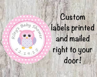Baby Shower Printed Pink Owl Round Party Stickers for Party Favors Polka Dot Labels **Discounts Available