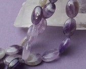 Dog Tooth Amethyst Beads - 10x15mm Flat Ovals - 8 inch strand of 14 beads