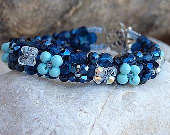 Blue Beaded Bracelet, Swarovski Beaded Bracelet, Swarovski Bracelet, Woven Beads Jewelry, Crystal Bracelet, Dark Blue & Turquoise Bracelet