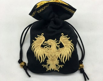 GOLDEN EAGLE - Embroidered Dice Bag, Rune Bag, Tarot Card Pouch made of faux suede - LARP accessory