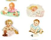 "Large Stickers (each sticker 2.5""x3.5"", pack 8 stickers) Scrapbooking Craft Vintage # Adorable Babies FLONZ 116"