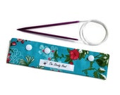 """Small Pink Flowers on Blue Background DPN Circular Project Holder for needles up to 7-1/2"""" long S180"""