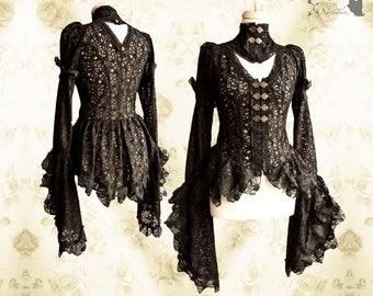 Blouse Victorian Steampunk, black bronze, lace, Noctua, Somnia Romantica, size small see item details for measurements