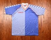 vintage 80s 90s soccer jersey Hummel football shirt 1980 1990 red white blue stripe World Cup 86 futbol Denmark raver raver medium M