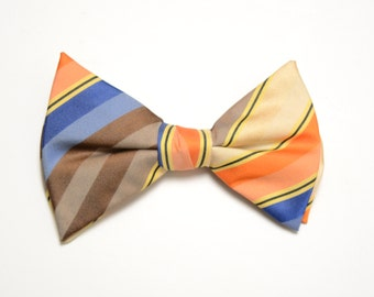mens vintage bow tie 70s stripe bow tie large 1970 bowtie oversize bow tie vintage menswear orange blue yellow brown bow tie