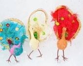 Vintage Peacocks Turquoise Red White Wired Feet Real Feathers Sequins Gold Trim Flocked Christmas Ornament Craft Supply Set of 3 Three