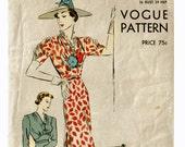 1930s Vogue Dress Pattern Bust 36 Size 18 Vintage Sewing Pattern 30s One piece dress Shoulder Shirrings fitted Waistline Vogue 7634