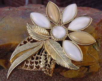 Magnificent Moonstone Golden Flower Vintage Brooch