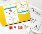 "Owl Baby Shower Invitations - Yellow Pocket, Ivory Envelope Liner, Coral Ribbon, Ivory w/Specks Envelope, Customizable - ""Little Owl"""