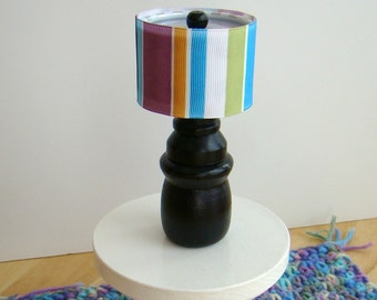 Barbie Furniture - Black Table Lamp w Drum Lampshade - Purple, Blue, Green, Black Vertical Stripe - FREE Shipping to anywhere in the USA