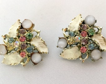Vintage Clip On Earrings White Enamel with Multi Colored Stones 1950s