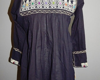 Vintage Handmade Tunic embroidered Dress Hippie Boho Mini Short Cotton Mexican Ethnic Bohemian size S M