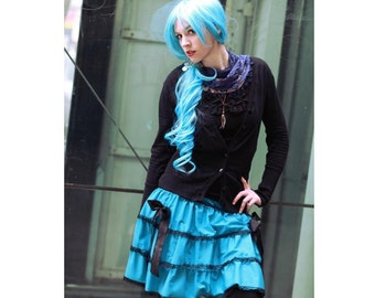 any colour combination lace edged tiered skirt with ribbon bows. Steampunk Goth Lolita skirt