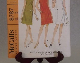 Vintage Sewing Pattern 1967 Easy to Sew Dress with Pockets: McCall's Factory Folded Printed 8787 - Size 16, Bust 36 -  beginners