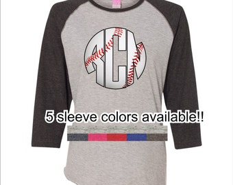 Ladies Baseball Monogram 3/4 sleeve tee
