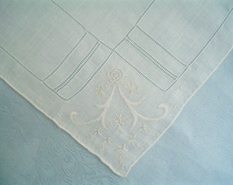 Hankie with Roses and Scrolls Hand Embroidered White Linen Vintage Handkerchief