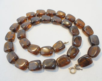 Vintage Trifari Faux Tortoise / Rootbeer Strand Necklace Mid Century Retro 1960's Large Chunky Statement Art Deco Runway