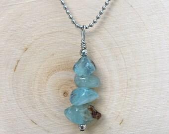 Wishing Stone Necklace- Aquamarine Pendant