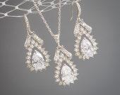 Bridal Wedding Jewelry SET, Crystal Bridal Jewelry Set, Wedding Pendant Necklace, Vintage Style Filigree Teardrop Bridal Earrings, BERTIE