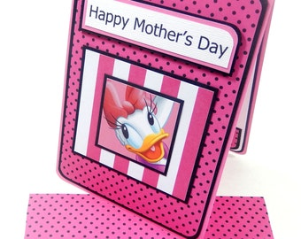 Pink Daisy Duck- Mother's Day Card with Matching Embellished Envelope