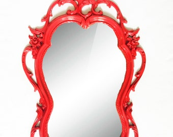 Ornate Red Mirror  - Hollywood Regency vintage frame and mirror