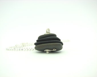"Beach Pebble Cairn Pendant Rustic Natural Organic Earthy Natural Stone Jewelry ""Zen Moment"""