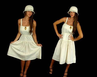vtg 70s CREAM Mexican PINPLEAT Sun DRESS Large/Extra Large boho hippie festival peasant  ivory bohemian