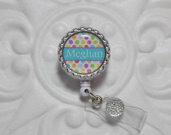 Personalized Retractable Badge Holder - Nurse Badge Holder - Teacher Lanyard - Badge Reel  - Polka Dot