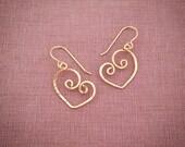 Gold Heart Earrings Spiral 14k Gold-filled Sweethearts Dainty