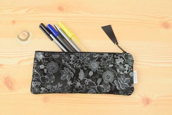 Leather pencil case,leather pencilcase,leather pouch,flowers pencil case,black pencil case,leather case,leather coin purse,flowers leather