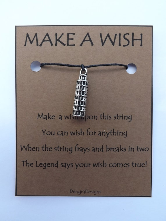 Italian Leaning Tower of Pisa WISH STRING Bracelet String Friendship Charm Lucky Amulet Cord Color Choice