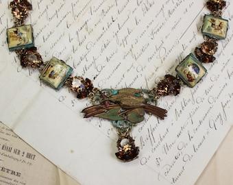 En Plein Air- Antique Assemblage Necklace- Handpainted Asian panel links- Topaz, Brown Rhinestone Links- Handpainted Bird Centerpiece
