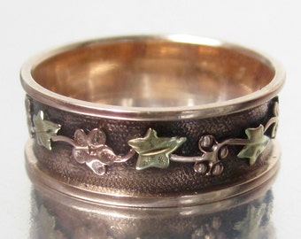Antique Victorian Pink Flower and Green Ivy Tri-Colored Rose Gold Wedding Band 12K