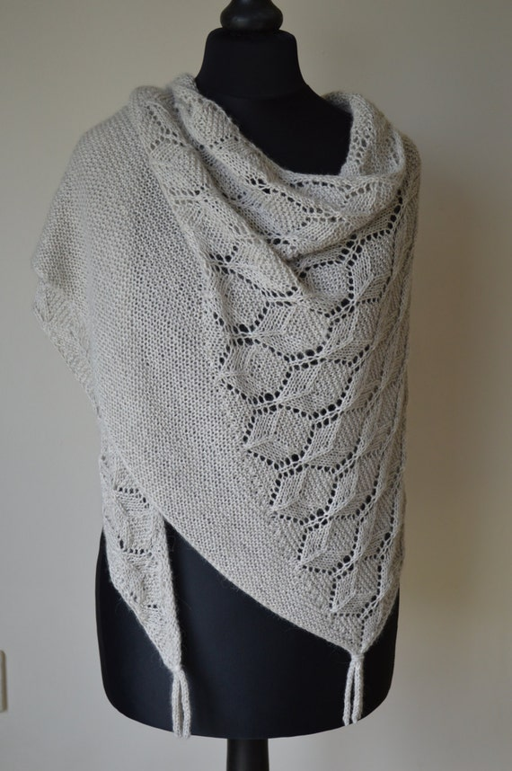 Knitting Pattern For Lace Garter : Lace and Garter Stitch Shawl Knitting Pattern pdf