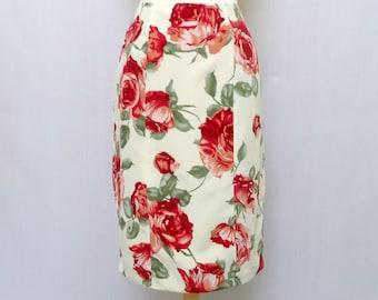 Knee Length Pencil Skirt - Floral Print - Pencil Skirt - Retro