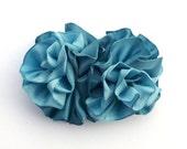 Ribbon Hair Bow Barrette, Vibrant Blue Bow, Prom or Wedding Hair Bow, Blue ribbon barrette, Handmade Hair Accessory by JudysLittleShop