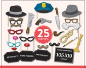 DIY Murder Mystery Props | 25 Full Size Printable Props | Instant Download | Photo-Booth Clipart