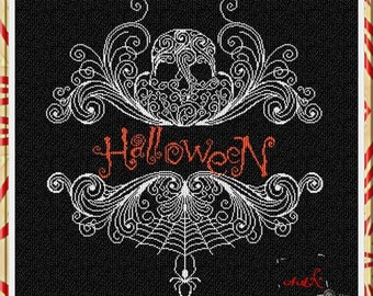 Halloween : Alessandra Adelaide counted cross stitch patterns skull goth monochromatic October scary hand embroidery