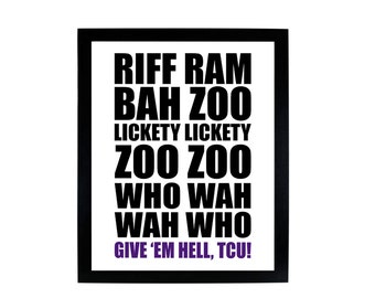 Riff Ram Bah Zoo TCU Horned Frogs, digital print