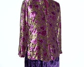 Reserved for SO,..Gypsy Chiffon Floral  Burnout Velvet Shirt. Small Medium