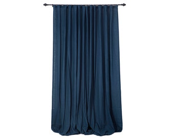 Linen drapes, Ripple fold wave curtains, linen curtains custom color or indigo curtains, unlined drapes, blackout curtains, natural curtain