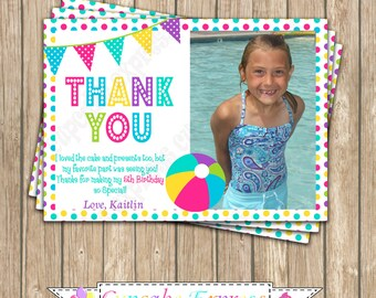 Pool Party Girls boys Birthday Party  PRINTABLE photo Thank You Card #3 5x7  summer splash 1st first birthday DIY - 1070