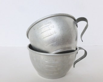 Aluminum Measuring Cup Scoop One Cup Graduated Measurements Lot of Two