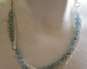 Three Strand White Pearls And Aquamarine Nuggets Necklace ./. Baroque Pearls ./. Collier Perle ./. Aigue Marine ./. White and Blue