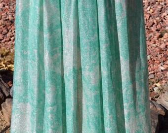 Vth Koret of California NOS Turquoise and White Metallic High Waist Maxi Skirt size small or a medium