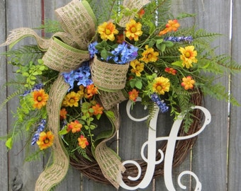 Spring Wreath with Wildflowers, Colorful Spring Wreath, Wildflower Field Wreath, Horn's Handmade