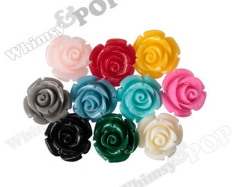 12mm MIXED Rose Beads, Flower Beads, Drilled Flowers, 12mm Flower Beads, Resin Flower Beads, Flowers With Holes, 1mm Hole (R9-108)