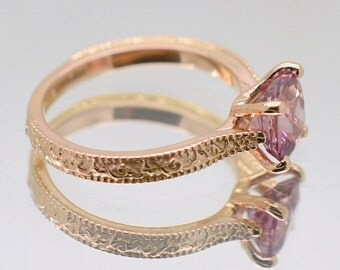 CERTIFIED Unheated natural pink sapphire, 14k rose gold, sapphire engagement ring  ENG-2471