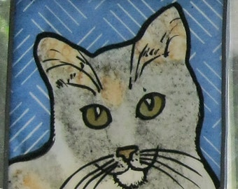 Stained Glass Cat Suncatcher   JRN026